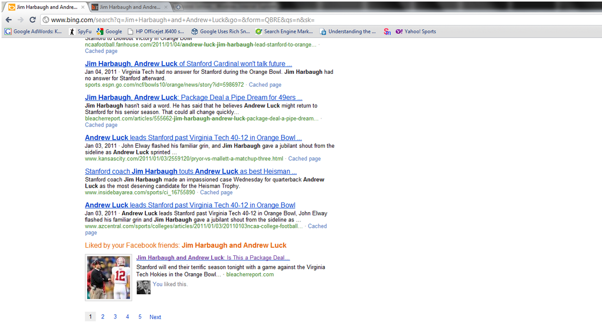 Social data on Bing searches was featured at the bottom of the results page.