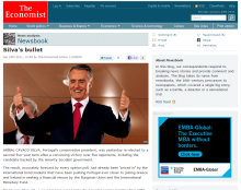 The Economist keeps its primary content clear of obstructions and lets it shine.