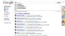 "Google Instant search for ""Bars in Boston."""