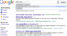 "First Google Instant search for ""When was Google Instant launched."""
