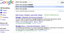 """Second Google Instant search for """"When was Google Instant launched."""""""