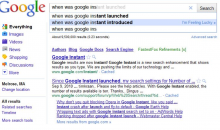 "Third Google Instant search for ""When was Google Instant launched."""