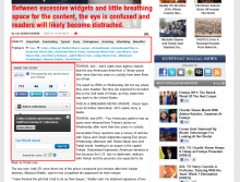 Before: The Huffington Post content area is overcrowded and intensely cluttered, making the user experience suffer.