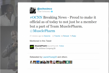 NFL star Chad Ochocinco recently agreed to become a social spokesperson for MusclePharm, a healthty lifestyle company.