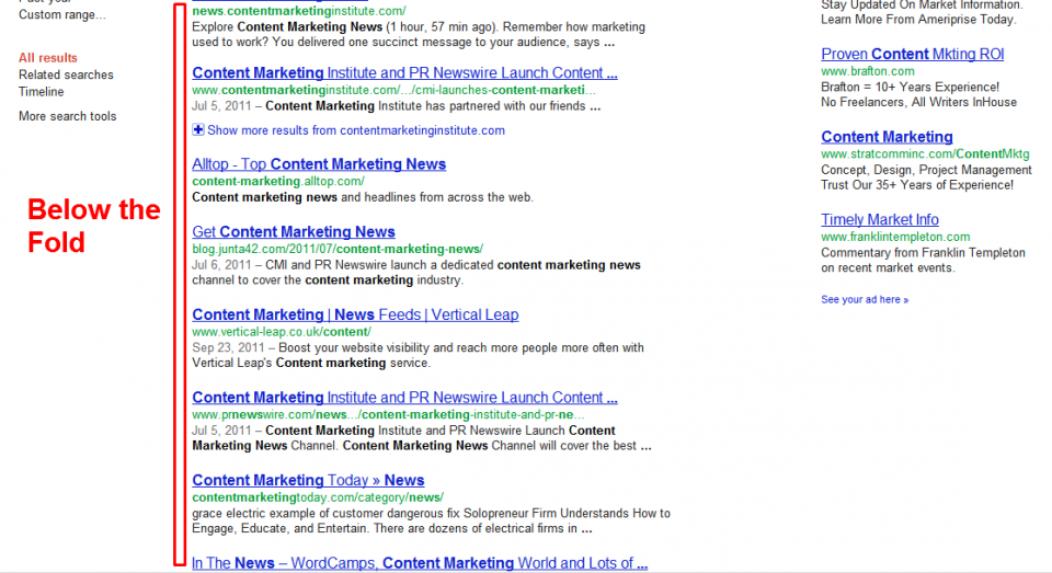 "This is a screen capture of search results below the browser's initial viewport, or ""below the fold."""