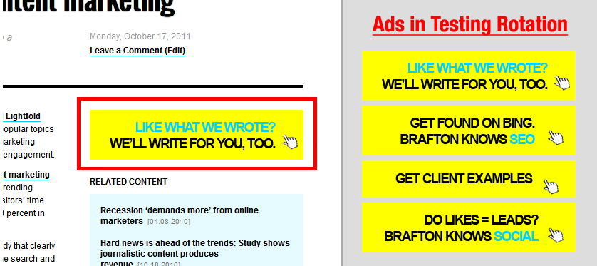 This image shows a method of multivariate testing by showing different ad versions on a piece of website content.