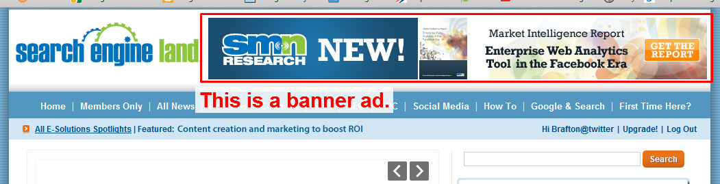 A screen capture of SearchEngineLand.com's website, portraying their use of banner advertisements.