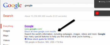 Google has added a feature that will allow users to instantly block websites they bounce off.