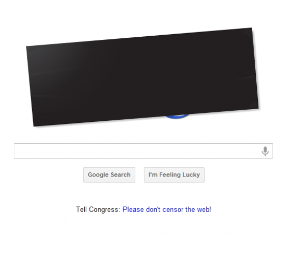 Google blacked out its logo on Google.com on Wednesday to demonstrate its opposition to SOPA and PIPA.