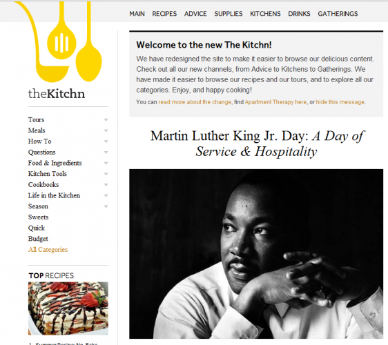 TheKitchn.com featured some of Dr. King's favorite recipes on Monday.