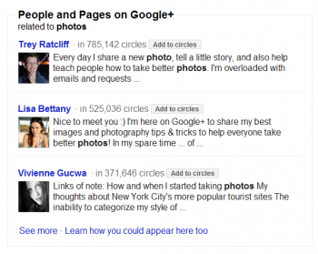 People and Pages is part of Google's new search feature which includes links to prominent Google+ profiles.