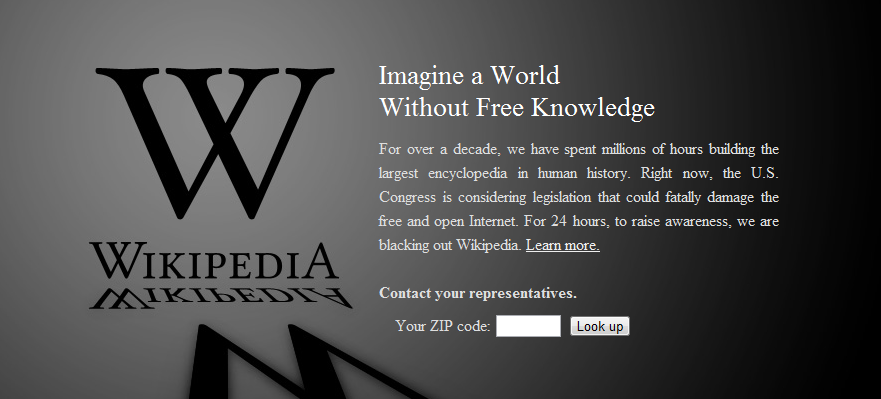 Wikipedia redirected users searching for information to this page on Wednesday.