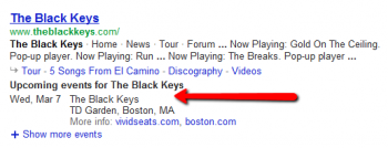 A new search feature will help Google provide users with concert information for queries related to recording artists.