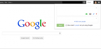 Google has added a Share feature on its homepage to allow users to post content to Google+ as soon as they hit search.