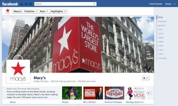 Department store giant Macy's was among the first company's to receive Facebook's new brand page layout, which is essentially Timeline.