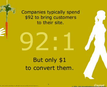 SES NY insight: Companies spend $92 on average to bring customers to their web pages, but $1 to convert them.