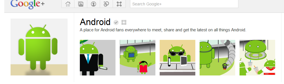 Android's lively banner on Google