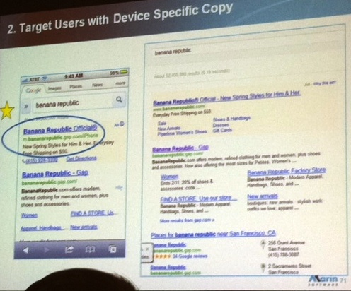Target mobile searchers with device specific copy