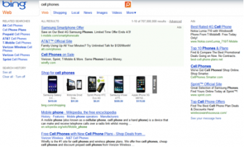 """Bing's results for """"cell phone""""."""
