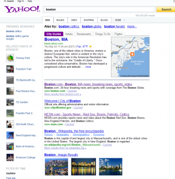Despite using the Bing algorithm, Yahoo does not show the same results as Bing for searches.