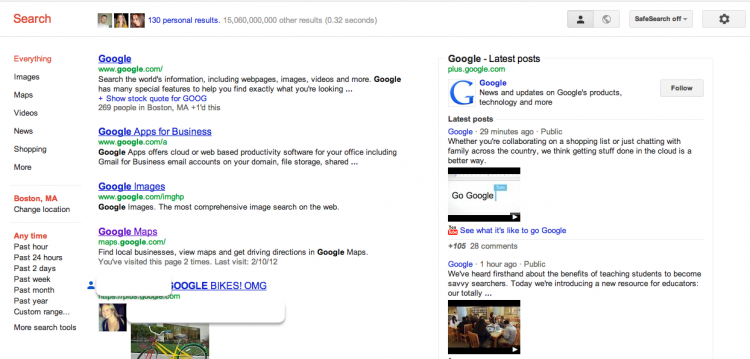 Google's has added substantial data from Google+ to its SERPs.