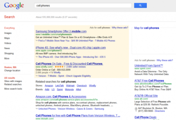 """Google's results for """"cell phone""""."""