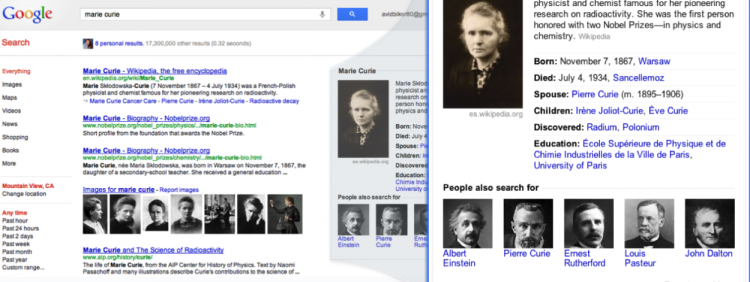 Google search Knowledge Graph 2 summaries