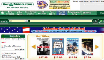 Family Video's quality website content has helped it gain search traffic for a July 4th Sale.