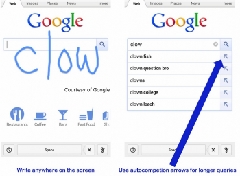 Google has rolled out a new Handwrite feature to allow smartphone and tablet owners to use manually trace letters onto their devices for search.