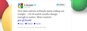 Google rolled out Panda 3.9, which will impact about 1 percent of searches.
