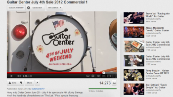 Guitar Center is using video content to highlight its July 4th Sale.