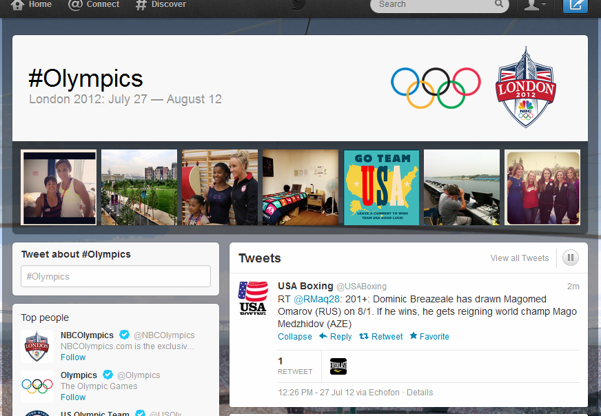 Twitter and NBC Olympics have partnered on a hashtag page to serve as a hub for social conversation around the event.