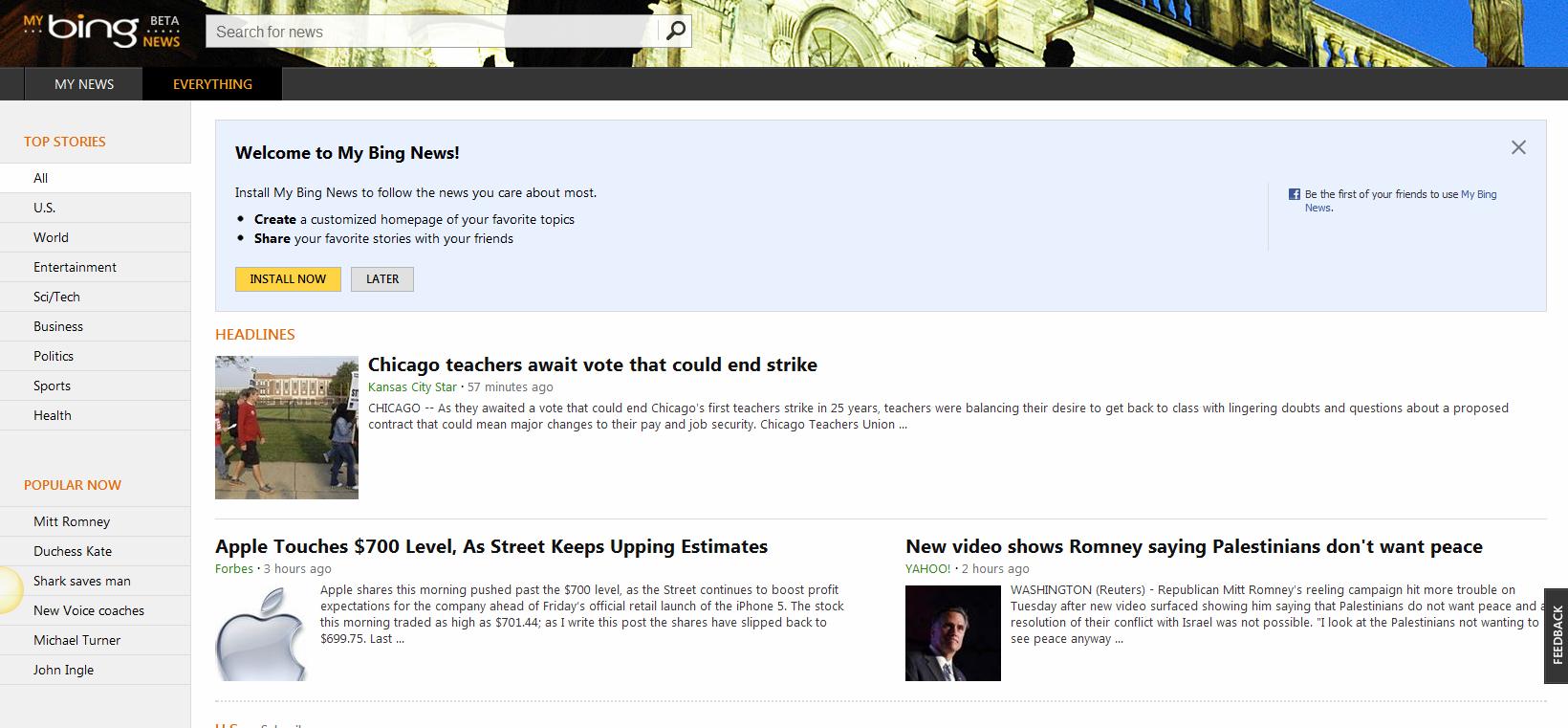 Bing rolls o... Bing News