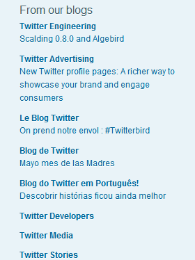 An example of a blogroll from Twitter's official blog.