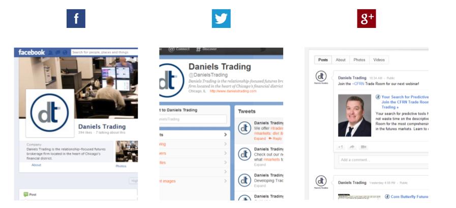 Daniels Trading social media
