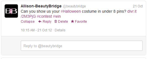 Beauty Bridge contest promotion on Twitter