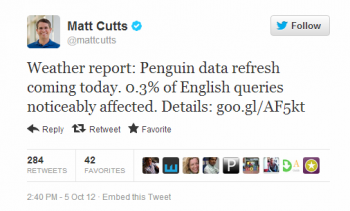 Matt Cutts announced the rollout of Penguin 1.2 last week.