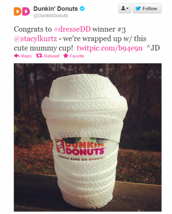"""Dunkin Donuts' """"dressDD"""" campaign on Twitter rewarded clever costumes on Dunkin Donuts' cups."""