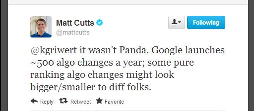 MattCuttsTweet - no Panda