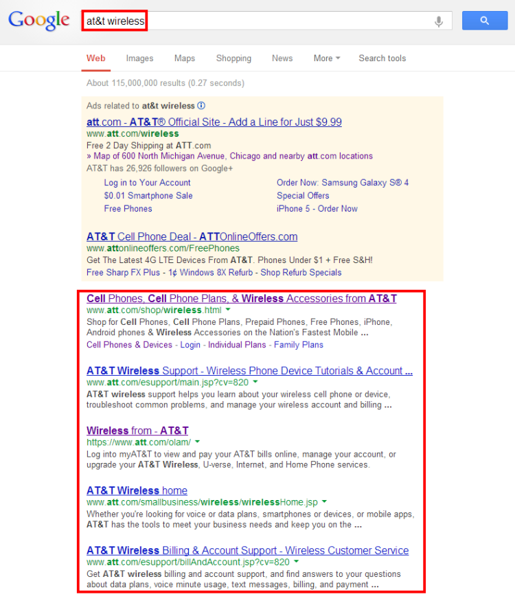 Desktop Results for ATandT Search