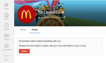 McDonald's empty Google+ page
