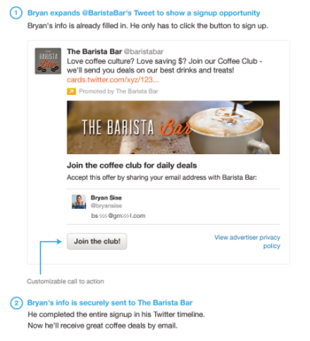 Twitter Lead Generation Card allows for easy opt-ins
