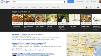 Google's new search results display local domains before educational website content.