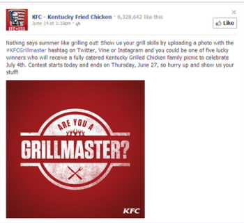 KFC uses hashtags to organize social content.