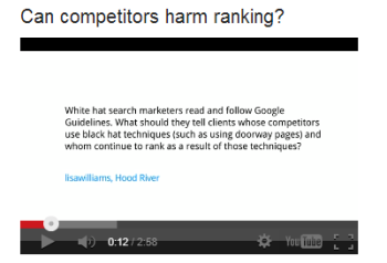 Matt Cutts answers questions about negative SEO in a Google Webmaster Tool update.
