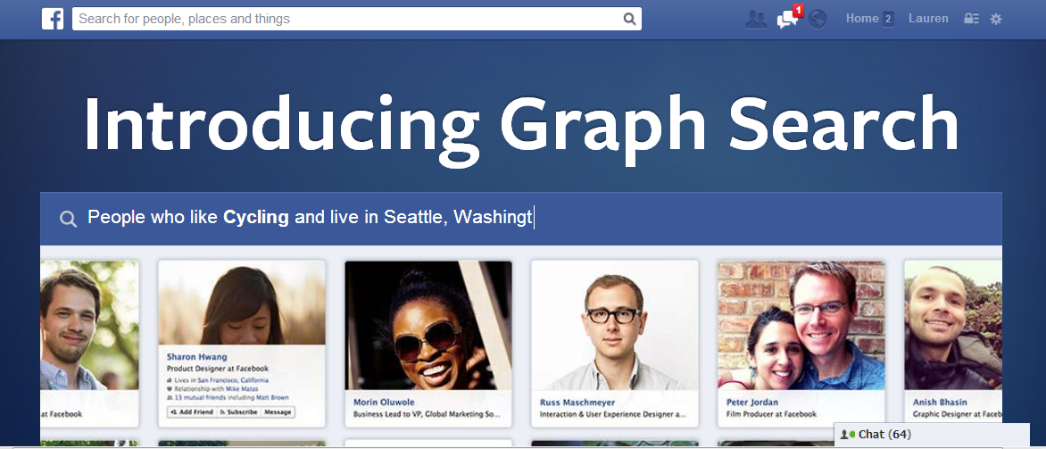 Facebook is rolling out its graph on a larger scale, bringing search functions to social media content.