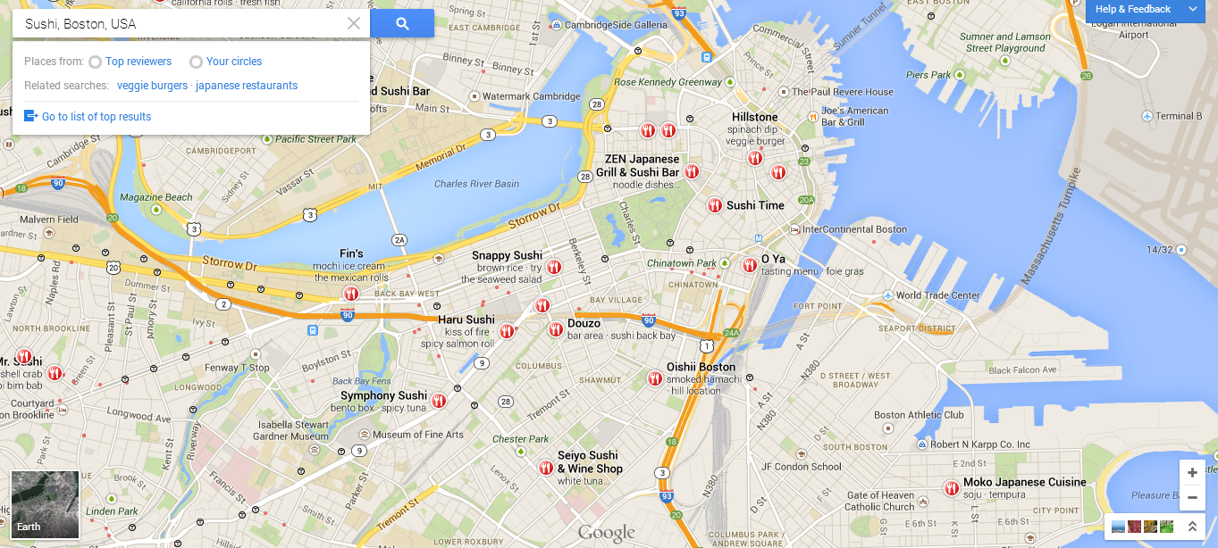 Google's new Maps App display business locations directly on the map rather than on the side.