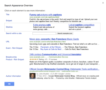 Google's new search pop-up shows marketers how their domains look in SERPs.