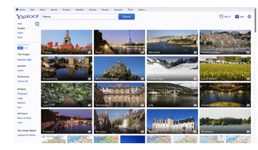 Yahoo's new image search feature brings high-quality images into search results.