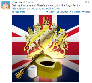 Charmin's social media content was not well received after Royal Baby Announcement.